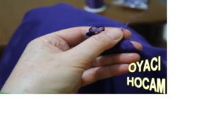 İğne oyası yapımı mor menekşe motifli (videolu)