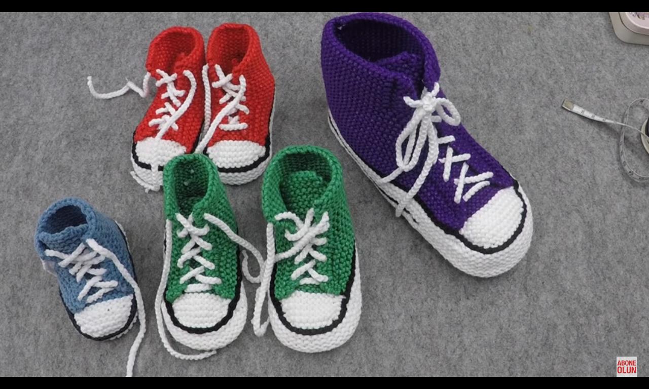 Örgüden Şiş İle Converse Patik Yapımı Videolu Anlatım