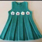 Pileli Örgü Bebek Elbisesi Yapılışı Anlatımlı