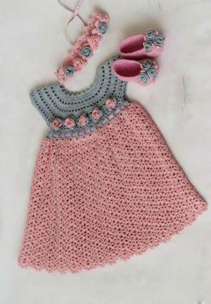 Tığ işi Yazlık Çocuk Elbise Modeli Yapımı Şablonu