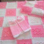 Tunus işi Sıralı Baklava Modeli Bebek Battaniyesi Yapılışı