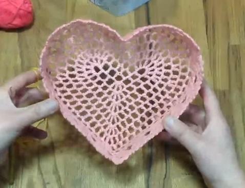 Tutkallı Dantel Kalp Sepet Yapılışı videolu