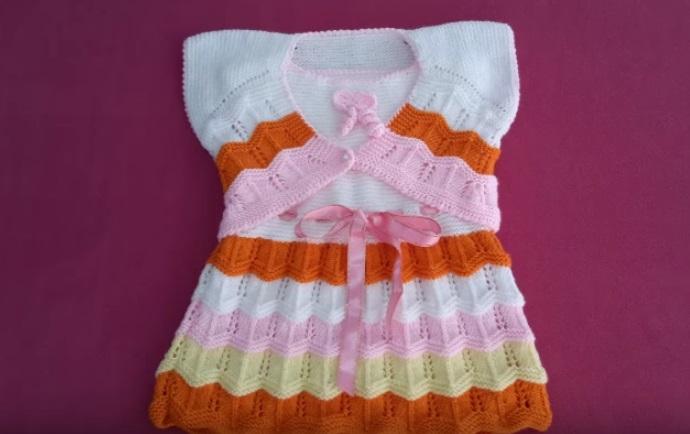 Örgü Kız Çocuk Bolero ve Elbise Takımı Yapımı