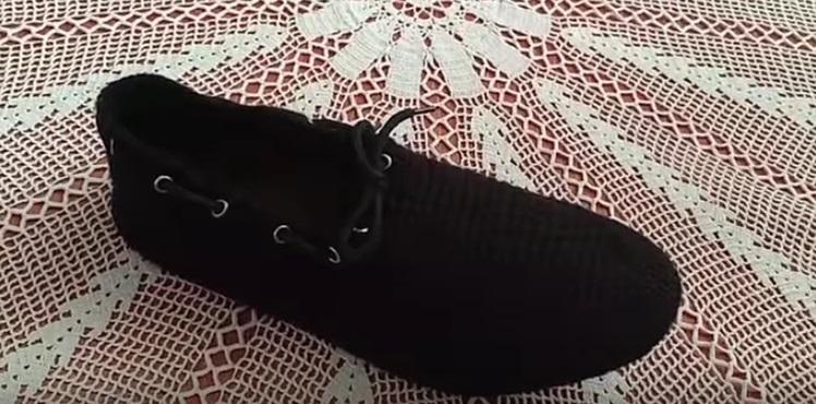 Bağcıklı Örgü Erkek Ev Ayakkabısı Yapılışı videolu