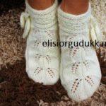 Örgü Yapraklı Bayan Patik Çorap Yapılışı